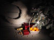Orange Tangerinen nähern sich Winterbäumen Drei Weihnachtskugeln getrennt auf Weiß Lizenzfreie Stockfotografie