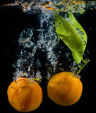 Orange and tangerines in water with air bubbles over black Stock Photography