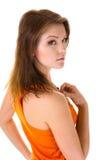 Orange tank top. Athletic female dressed orange tank top isolated on white Stock Photo