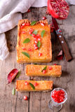 Orange tart with pomegranate fresh mint leaves Royalty Free Stock Photography