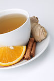 Orange tea with cinnamon and ginger Royalty Free Stock Photos