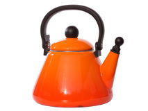 Orange Tea Kettle. Simple isolated tea pot with a plastic handle Stock Images