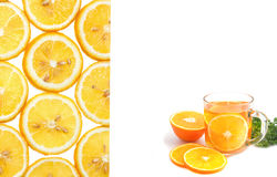Orange tea and orange slice, food background Stock Photos