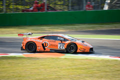Orange 1 Team Lazarus Lamborghini Huracan GT3 at Monza. The Autodromo Nazionale Monza hosted the first endurance race of 2017 Blancpain GT Series Royalty Free Stock Photography