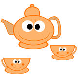 Orange teapot with cups Stock Photos