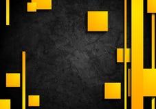 Orange tech elements on dark grunge background. Vector graphic design stock illustration