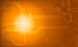 orange Technologiestromkreislinie Zusammenfassungshintergrund Stockfoto