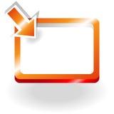 Orange tecken med att peka pilen Arkivbilder