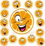 Orange tecknad film med många uttryck stock illustrationer