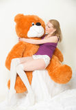 Orange teddy bear Stock Images