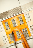 Orange teilte Doppelaufzugfassadenfragment mit Backsteinmauerbeschaffenheit Tilingsschuß mit Bürste und Bleistiften Stockfotos