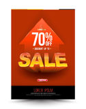Orange template super sale poster discount up to 70 percent with arrow. Stock Image