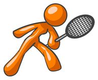 Orange tennis player. A 3D illustrated orange tennis player on a white background Royalty Free Stock Photography