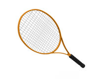Orange tennis racket isolated on white Royalty Free Stock Images