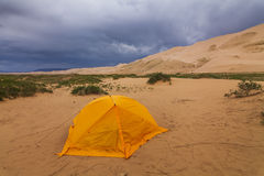 Orange tent in the Gobi Desert. Stock Images