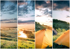 Orange tent on hill above the river Stock Photography