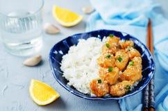 Orange teriyaki chicken with rice Royalty Free Stock Photography