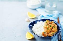 Orange teriyaki chicken with rice Royalty Free Stock Image