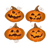Orange terrible halloween pumpkins. Vector orange terrible halloween pumpkins Royalty Free Stock Images