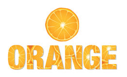 Orange text made from slices of citrus Stock Images