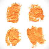 Orange textural prints thick smears of paint on paper Royalty Free Stock Photos