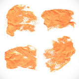 Orange textural prints thick smears of paint on paper 3 Royalty Free Stock Photos