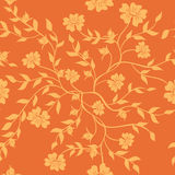 Orange texture with plants - vector Royalty Free Stock Images