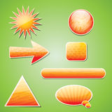 Orange textured icon set with shadow Royalty Free Stock Photos