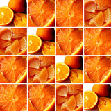 Orange textures inside square shapes. Background made of square shapes filled with orange textures: cut oranges, carved orange, orange pulp and orange pieces royalty free stock image