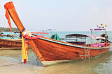 Orange Thai boat for tourists Stock Photos
