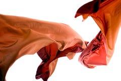 Orange Thai Silk In Mid-Air Stock Photos