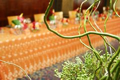 Orange thai theme 048. Table setting for a special occasion through a bunch of twigs stock photography