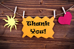 Orange Thank You Banner on a Line Royalty Free Stock Image