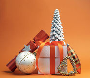 Orange theme Christmas gift and bauble decorations Stock Photos