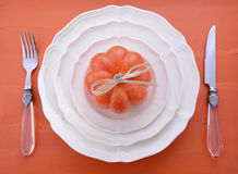 Orange theme Halloween Thanksgiving table place setting. Stock Photography