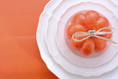 Orange theme Halloween Thanksgiving table place setting. Royalty Free Stock Images