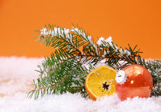 Orange themed Christmas background Stock Photos