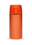 Orange thermos collection isolated on white background. Orange thermos with plastic lid and convenient spout for an active life, isolated on white background Stock Photo