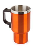 Orange thermos mug Stock Images
