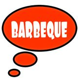 Orange thought bubble with BARBEQUE text message. Illustration royalty free illustration