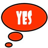 Orange thought bubble with YES text message. Illustration Stock Photo