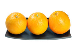 Orange. Three Orange on wooden tray on the white background, clipping path Stock Photography