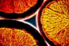 Orange Threeway Fire. X-ray effect on three slices of an orange Royalty Free Stock Image