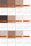Orange and thunder colored geometric patterns calendar 2016 Stock Photography