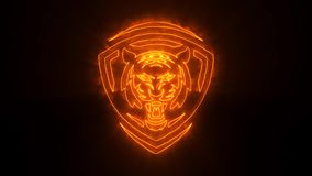 Orange Tiger Head Animated Logo mit decken Effekt auf stock abbildung