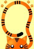 Orange Tiger Invitation Card. Invitation card with an orange tiger peeking and paw prints Royalty Free Stock Photo