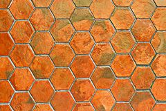 Orange tile floor for pattern and background Royalty Free Stock Photo
