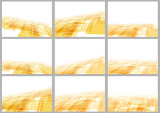 Orange tile perspective backgrounds collection Royalty Free Stock Images