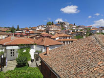Orange tiled roofs against blue sky of Ohrid, Macedonia Royalty Free Stock Photography