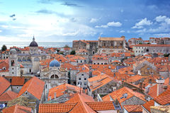 Orange Tiled Rooftops of Stari Grad Dubrovnik Croatia Stock Image